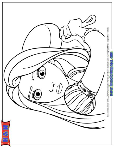 Coloring Page Princess Tangled by Tangled Princess With Cooking Pan Coloring Page H M