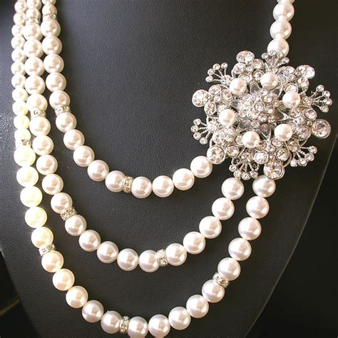 pearls for jewelry vintage pearl necklace with brooch