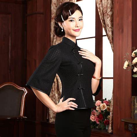Brukat Cheongsam Collar stylish mandarin collar qipao cheongsam shirt black