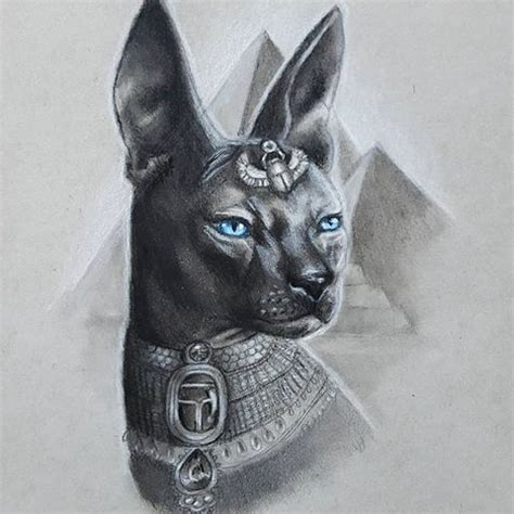strict black blue eyed egyptian cat on pyramid bakground
