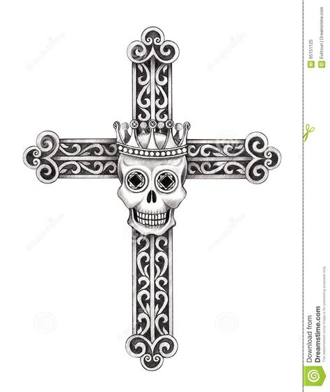 art skull cross tattoo stock illustration illustration