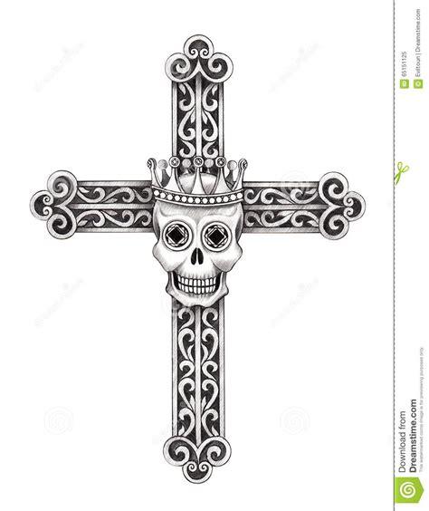 art skull cross tattoo stock illustration illustration