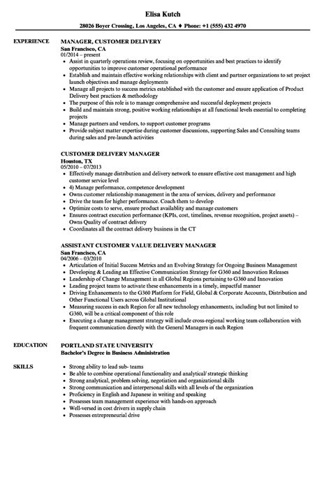 customer delivery manager resume sles velvet
