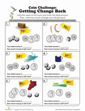 coin challenge what s the change worksheet education com