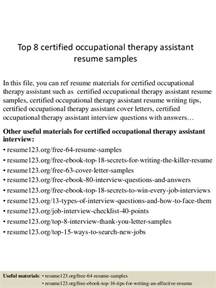 Certified Quality Engineer Sle Resume by Top 8 Certified Occupational Therapy Assistant Resume Sles