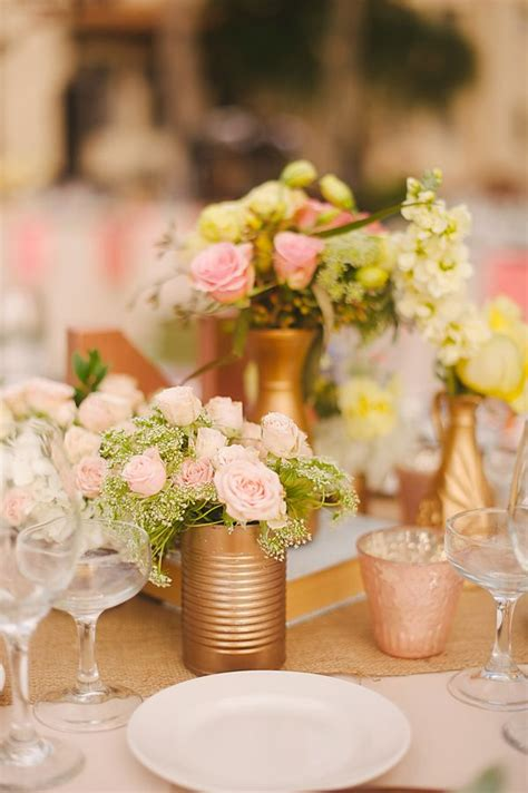 Easy Centerpiece Idea Spray Paint Cans Gold And Fill With Gold Centerpiece Ideas