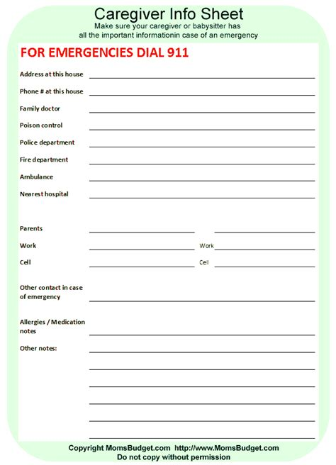 nanny information sheet template nanny emergency contact sheet template pictures to pin on