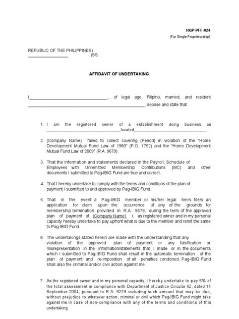 Insurance Undertaking Letter Format Affidavit Of Undertaking Hdmf