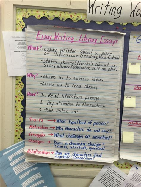 Literary Essay Calkins by Literary Essay Anchor Chart By Giameo Ardena To Support The Baby Literary Essay Unit In