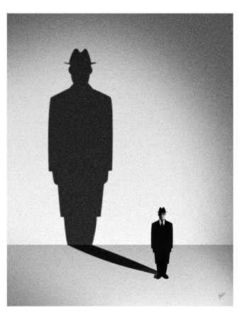 Stock Illustration - Figure with large shadow