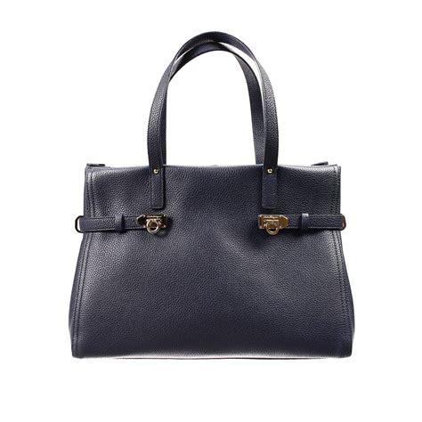 Totebag By Adamshopp 2 lyst ferragamo handbag bag nencia shopping 2 handles leather grained calf in blue