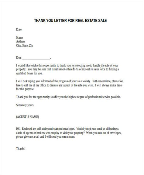 appreciation letter to real estate 69 thank you letter exles