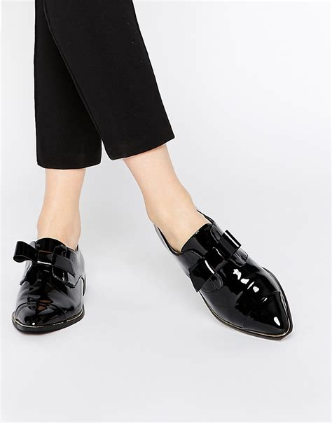 aldo aldo gazoldo black patent flat shoes at asos