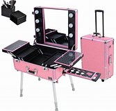 Image result for Make Up Case with Lights Rolling Studio Makeup Artist Cosmetic Case W Light Leg Mirror Pink Train Table