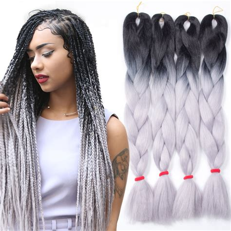 kanekolan hair black white grey 5pcs ombre kanekalon braiding hair grey gray kanekalon