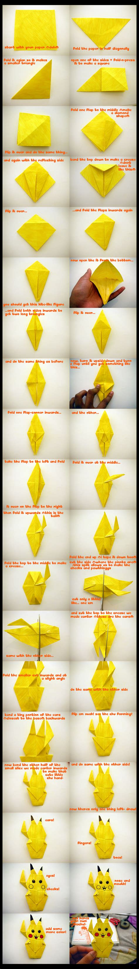 how to make an origami pikachu infographic images