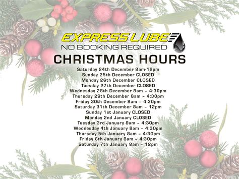 merry christmas opening hours express lube