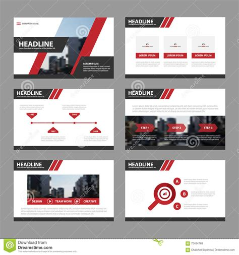 Red Presentation Templates Infographic Elements Flat Design Set For Brochure Flyer Leaflet Advertising Presentation Templates