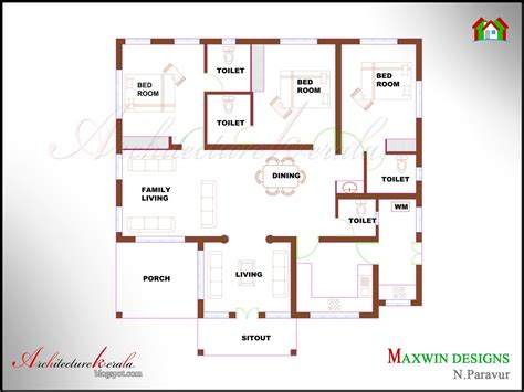 3bhk house design plans architecture kerala 3 bhk single floor kerala house plan