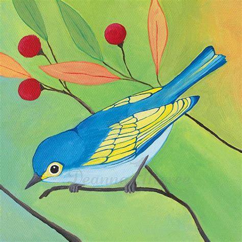 acrylic painting birds bird painting original acrylic on 6x6 canvas an