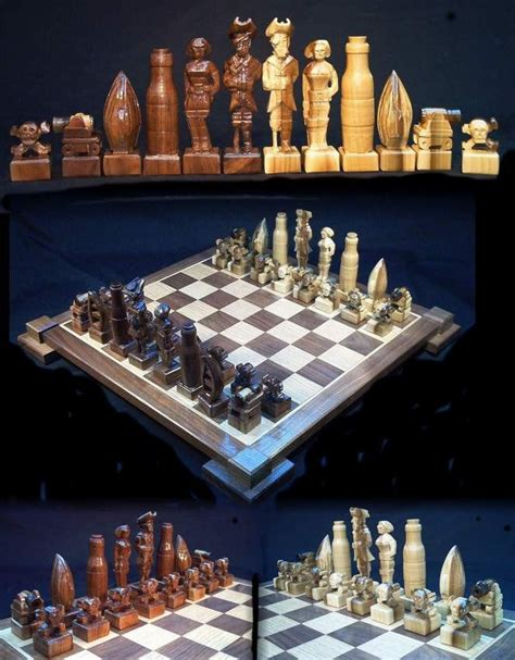 custom chess sets chess set pirate chess set handmade on etsy carved