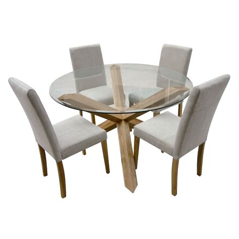 hampton oak 120cm round glass dining table with 4 chairs