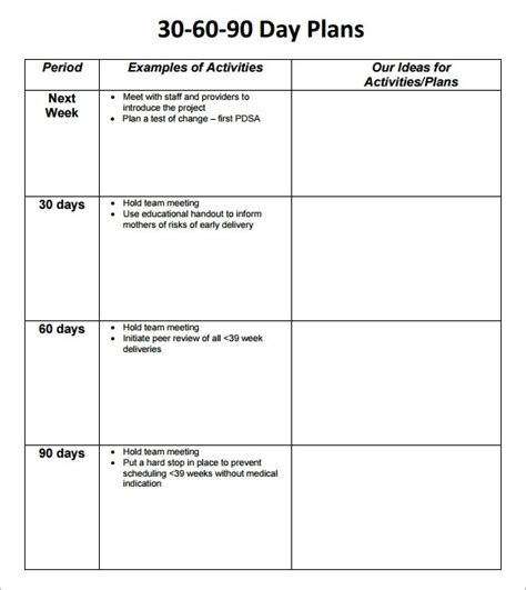 30 60 90 day plan template 8 free download documents in