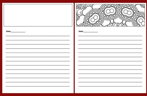 journal page template coloring book templates done for you coloring book templates