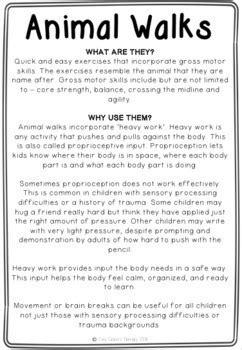 Animal Walks Movement Cards - Brain Breaks, Self