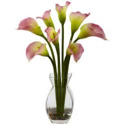 classic pink calla silk flower arrangement artificial flowers silk flowers