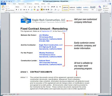 uda constructiondocs remodeling contract templates