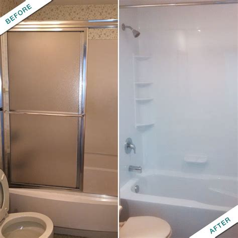 bath fitter before and after a curtain rod can help open up space in the bathroom