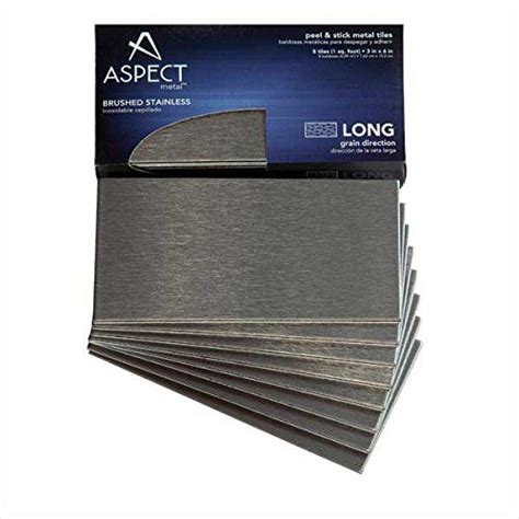 Aspect Peel And Stick Backsplash 3inx6in Brushed Stainless Aspect Stainless Steel Backsplash