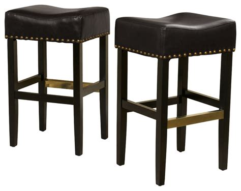 Leather Backless Bar Stools by Backless Leather Bar Stool Set Of 2 Black