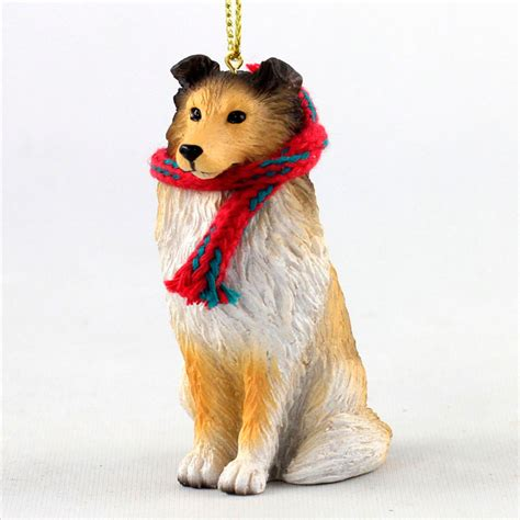 sheltie dog christmas ornament scarf figurine ebay