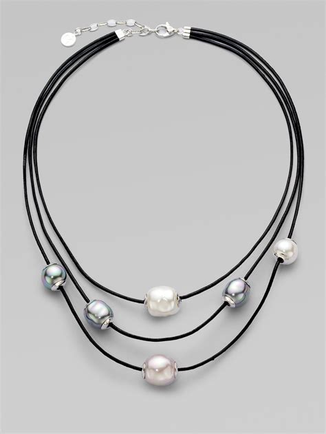 sterling silver leather necklace majorica 12mm multicolor baroque pearl sterling silver