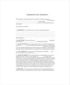 Equipment Agreement Template by 8 Equipment Lease Templates Free Sle Exle