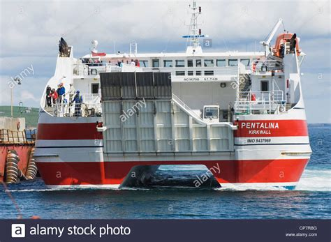 catamaran ferry to the orkney islands scotland stock - Catamaran Ferry To Orkney