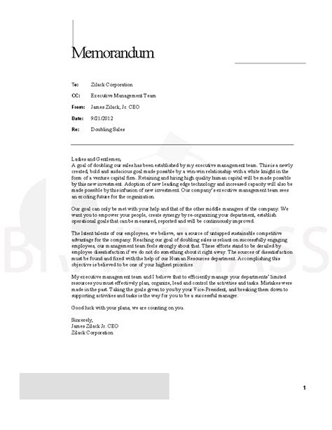 Memo Template To Ceo Ceo Memo