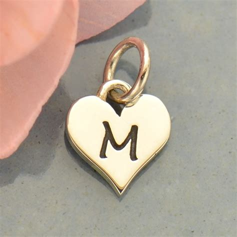 Small Silver Letter Heart Charm - Initial M | Nina Designs M Letter In Heart
