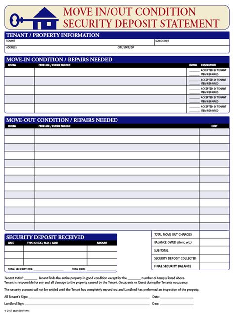 apartment application fee receipt template security deposit receipt move in out condition ez