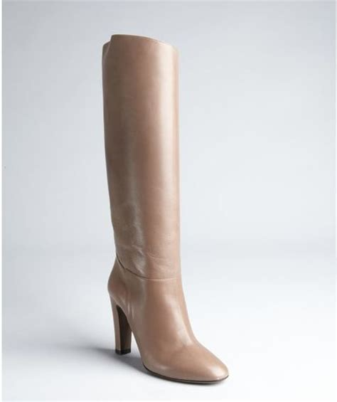 taupe color boots valentino taupe leather high heel boots in brown