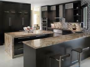 kitchen stainless steel countertops black cabinets deck
