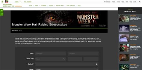 Animal Sweepstakes - animal planet s monster week hair raising sweepstakes