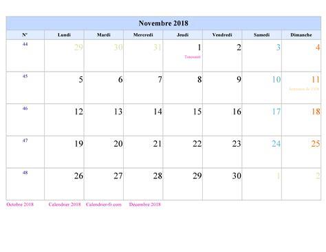 Calendrier Novembre 2018 Calendrier Novembre 2018 224 Imprimer Gratuit En Pdf Et Excel