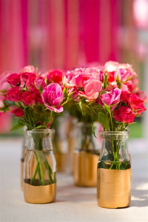 Flowers In Vases For Centerpieces by Diy Gold Dipped Home Accessories And Decorations