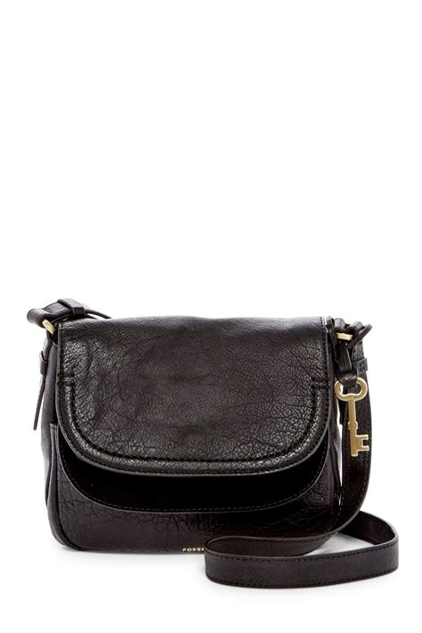 New Original Fossil Kendall Crossbody Small Black fossil peyton small flap leather crossbody in black lyst