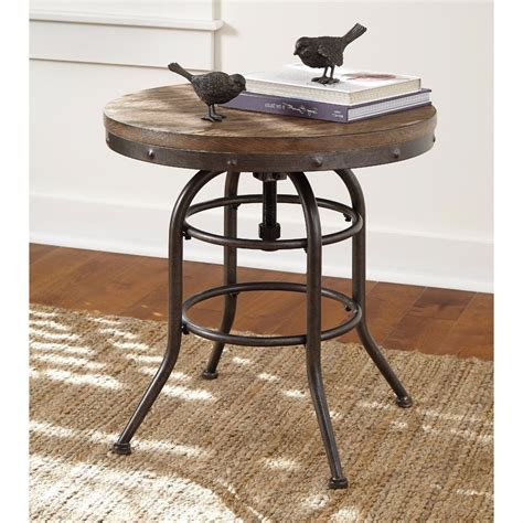 industrial metal side table vintage round rustic industrial end table adjustable top
