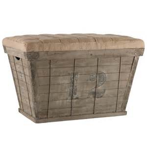Wooden Storage Ottoman Rustic Wood Storage Crate Ottoman Country