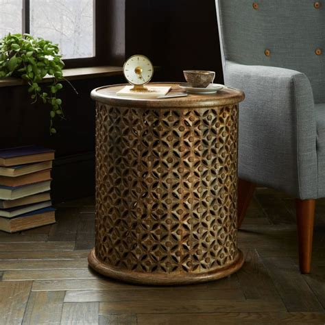 West Elm Rug by Carved Wood Side Table West Elm Au